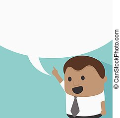Young African businessman with speech bubbles