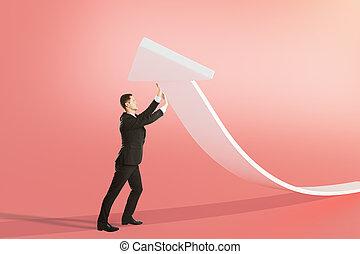 Success concept white arrow - Success concept with...