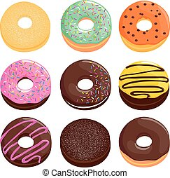 Donuts - Vector illustration collection of colorful donuts...