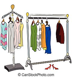 clothes on the rack - vector illustration of two different,...