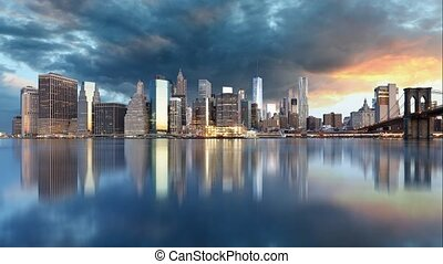 New York downtown panorama, USA - New York downtown panorama...