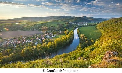 Spring Slovakia panorama landscape with river Hron, Time...