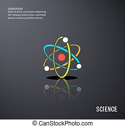 Black vector science background with atom icon