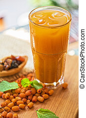 fruit drink with sea buckthorn - fruit non-alcoholic drink...