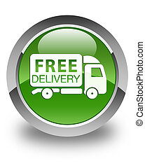 Free delivery truck icon glossy soft green round button