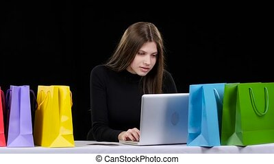Girl buy online Payment for goods by credit card Black -...