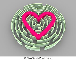 Labyrinth and heart 3d