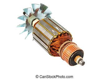 cobre, rollos, dentro, eléctrico, motor,