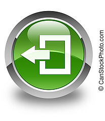 Logout icon glossy soft green round button