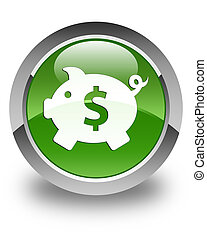 Piggy bank (dollar sign) icon glossy soft green round button