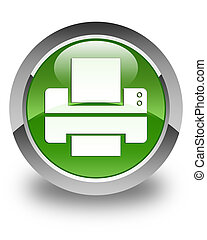 Printer icon glossy soft green round button