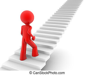 walking upstairs - 3d rendered red man walks upstairs