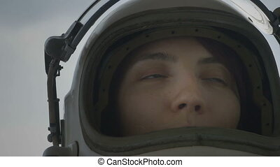 Cosmonaut with Helmet Face Shield U - Close up shot of...
