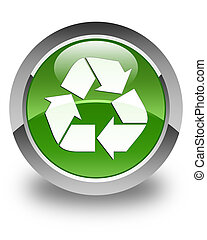 Recycle icon glossy soft green round button