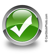 Validation icon glossy soft green round button