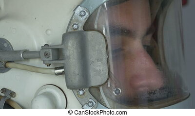 Lateral View of Cosmonaut Helmet - Close up shot of a...