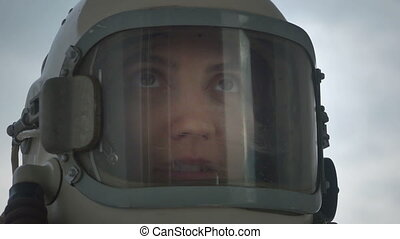 Woman Astronaut Talking - Female astronaut communicating...