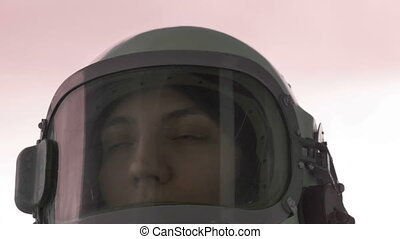 Scared Cosmonaut - Close up shot of woman astronaut scarred...