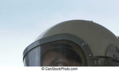 Rotating Astronaut Woman - CLose up shot of female cosmonaut...