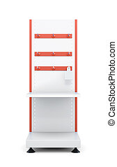 Stand with shelves and hooks for product isolated on a white...