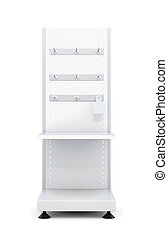 Stand with shelves and hooks for goods isolated on a white...