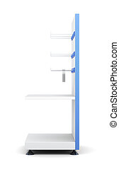 Rack with shelves and hooks for product isolated on a white...