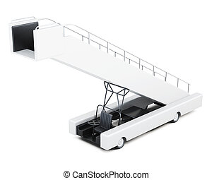 Boarding ramp isolated on a white background 3d rendering