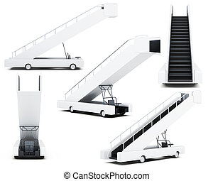 Set of movable boarding ramp isolated on a white background...