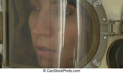 Russian Woman Pilot - Female USSR cosmonaut close up with...
