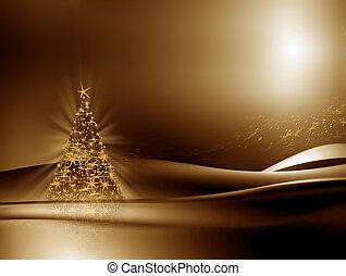 illuminato, Natale, albero, dorato, fondo