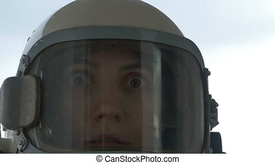 Wondered Cosmonaut Woman - Close up shot of woman cosmonaut...