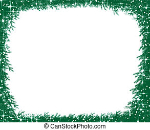 Christmas pine branches and snowflake frame - Christmas pine...