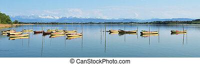 Pleasure boats on Pfaeffikon lake, Switzerland
