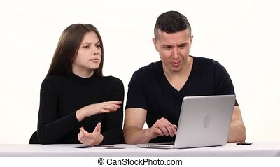 Couple performs online shopping in the room White - Young...