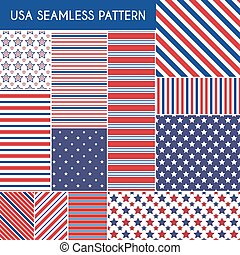 Patriotic red, white, blue geometric seamless patterns...