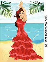 Young woman dancing flamenco on beach