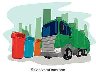 Recycling truck picking up bins - Illustration of recycling...