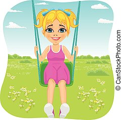 Adorable girl having fun on a swing in summer park