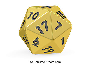 Red twenty-sided die, 20 sides. 3D rendering isolated on...