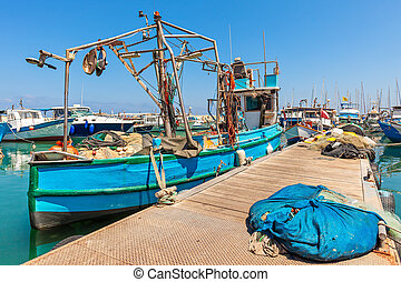 Fisherman boat in Jaffa, Israel. - Old colorful fisherman...