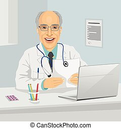 Male senior doctor holding medical prescription sitting in office with laptop
