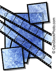 blue film strip and film plates with  vintage grunge texture, high detail