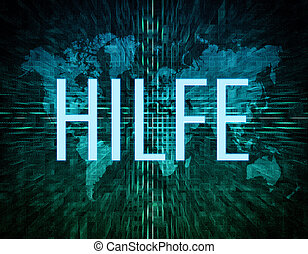 Hilfe - german word for help text concept on green digital...