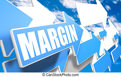 Margin - 3d render concept with blue and white arrows flying...