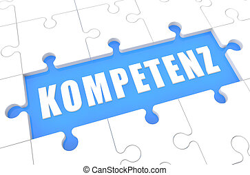 Kompetenz - german word for competence - puzzle 3d render...