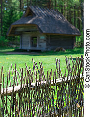 Fence made of twigs in the village.