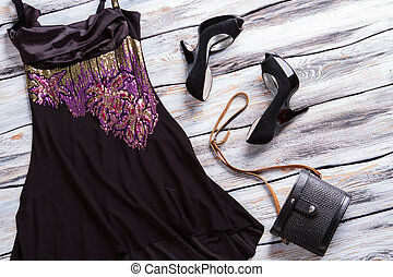 Black evening dress. Dark dress with colorful insert. Girl's...