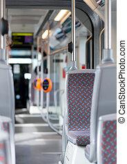 Modern urban bus interior. Empty bus.
