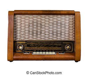 Old soviet radio isolated on white.