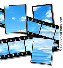 film strip and film plates with summer sky and ocean image on white background